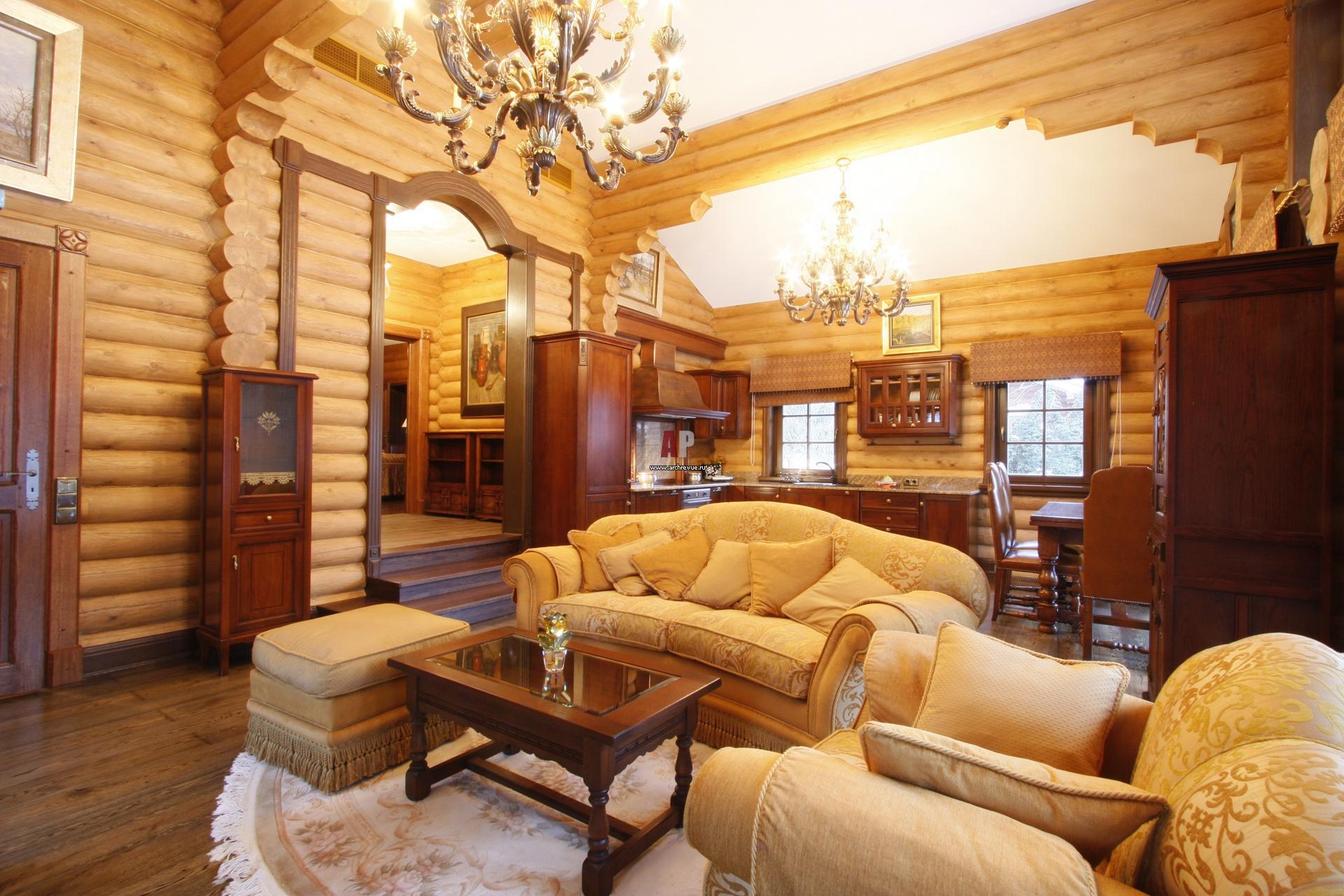 Дизайн кухни из дерева и гостиная