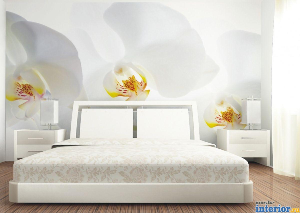 Фотообои в интерьере спальни цветы