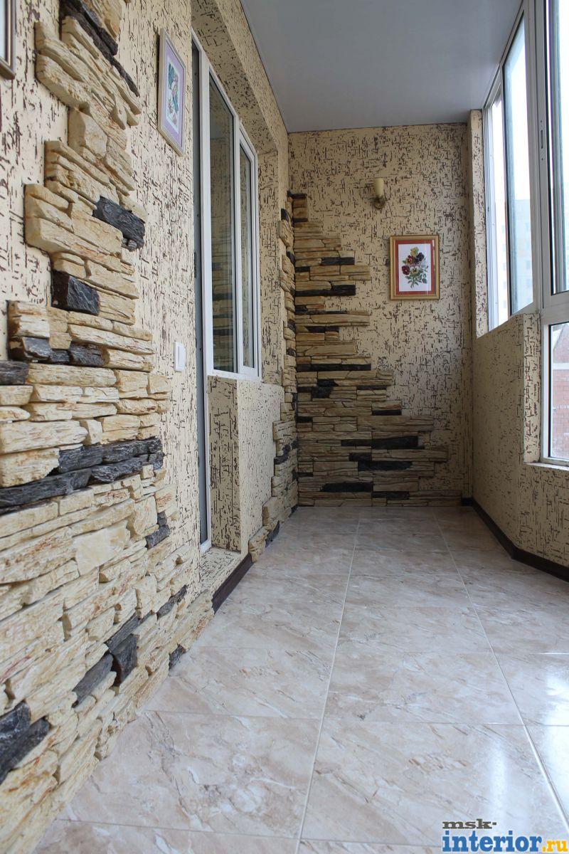 Фото интерьер балконов с декоративным камнем.