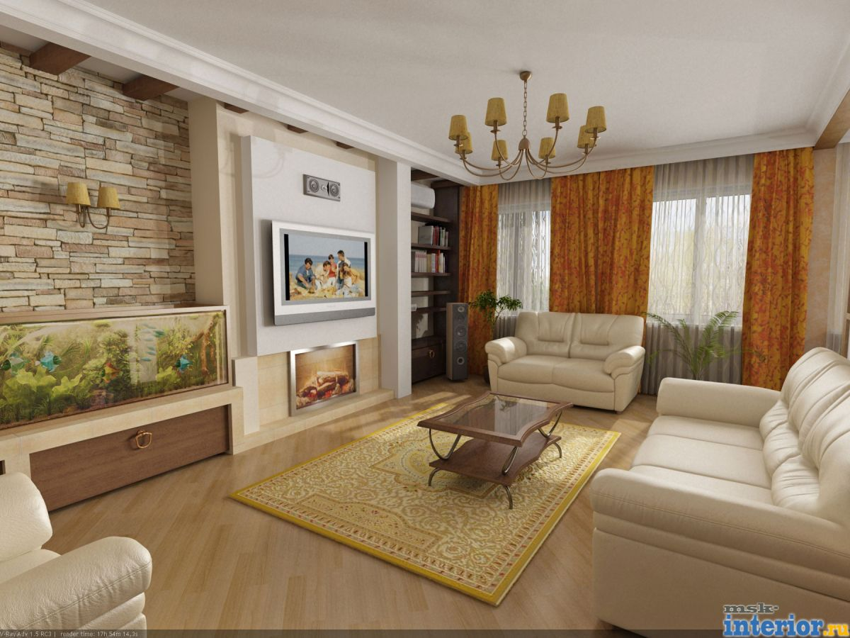 Современный интерьер зала в квартире
