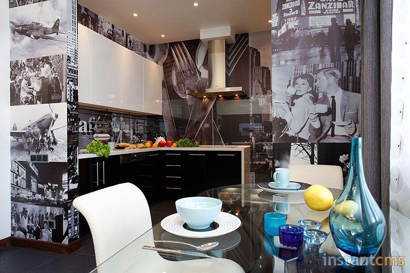 фотообои на кухне фото в интерьере